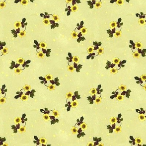Ditsy Yellow Floral on Green