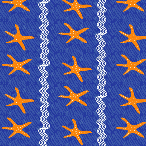 Sotto il mare starfish stripe fabric by vanillabeandesigns on Spoonflower - custom fabric