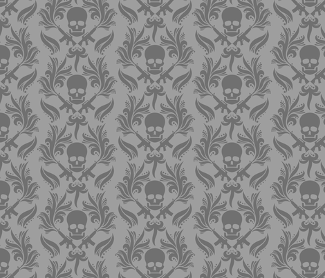 Damask skulls fabric by kittenstitches on Spoonflower - custom fabric