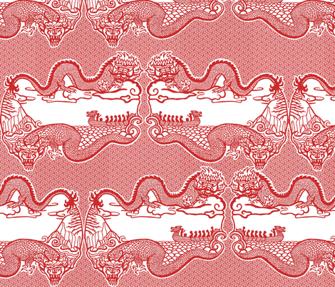Chinese Dragon Cut Paper Design fabric by bloomingwyldeiris on Spoonflower - custom fabric