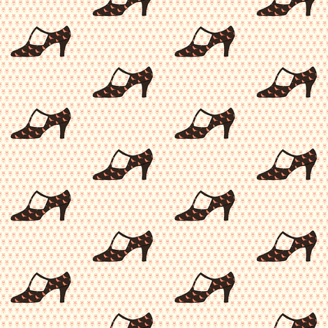 Vintage Shoe and Bird Pattern fabric by carrie_narducci on Spoonflower - custom fabric