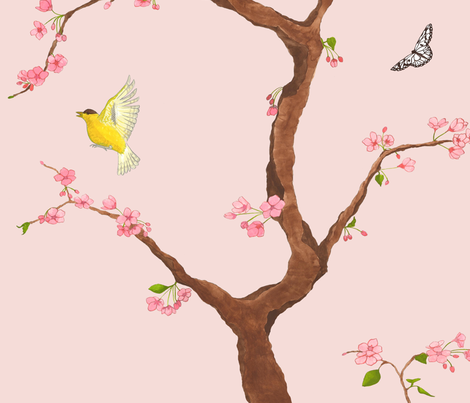 Jenny cherry blossoms on blush fabric by domesticate on Spoonflower - custom fabric