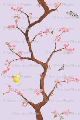 Jenny cherry blossoms on lavender