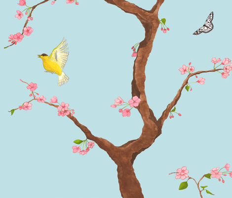 Jenny cherry blossoms on light blue fabric by domesticate on Spoonflower - custom fabric