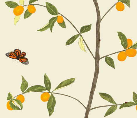 Jenny kumquat on cream fabric by domesticate on Spoonflower - custom fabric
