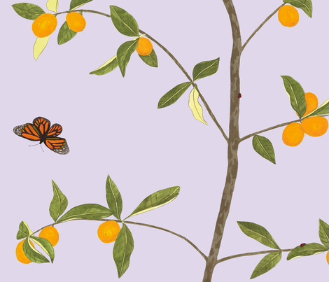 Jenny kumquat on lavender fabric by domesticate on Spoonflower - custom fabric