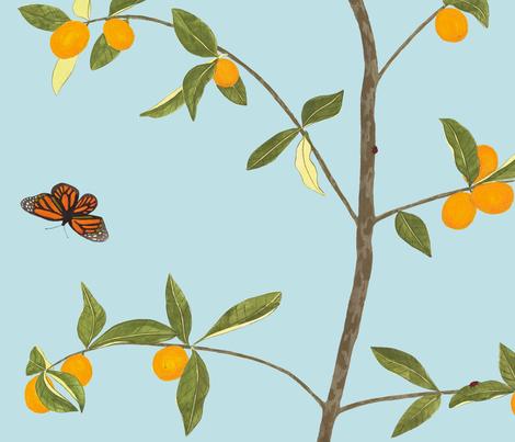 Jenny kumquat on light blue fabric by domesticate on Spoonflower - custom fabric