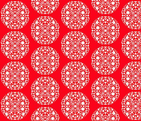Chinese_Paper_Cutting_Dubai_Building_lattice_R_W_Circle_Red_bkgrnd fabric by zsmama on Spoonflower - custom fabric
