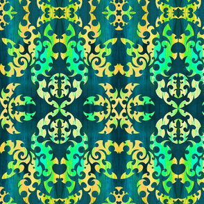 teal damask large