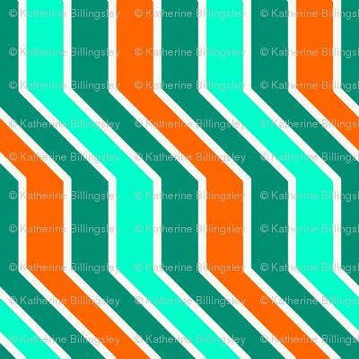 Orange Aqua Zigzag
