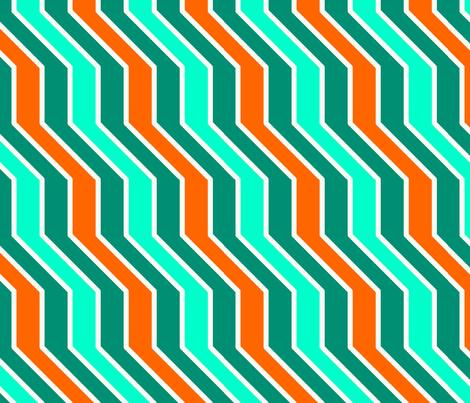 Orange Aqua Zigzag fabric by katebillingsley on Spoonflower - custom fabric
