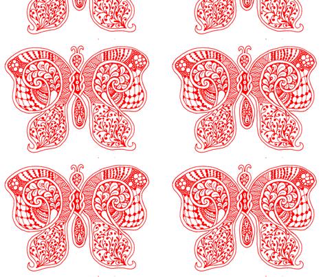ButterflyFlutterby - xl - true red  - contest fabric by celttangler on Spoonflower - custom fabric
