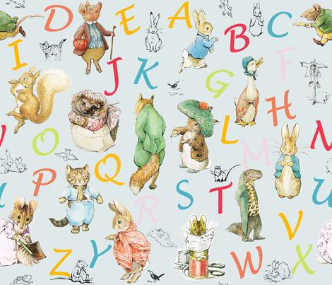 Alphabet Beatrix Potter Nursery Rhymes Fabric