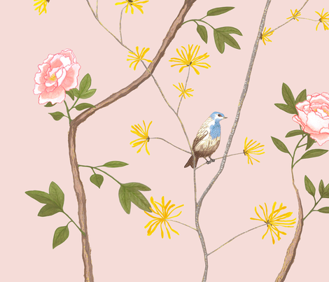 Jenny peony on blush fabric by domesticate on Spoonflower - custom fabric