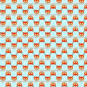 Baby Fox Light Aqua Quatrefoil