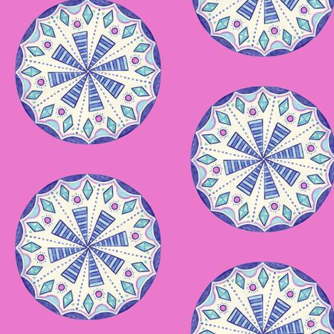 Blue Folk Wheel fabric by gretchendiehl on Spoonflower - custom fabric