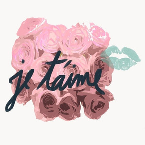 je taime pink roses + lips