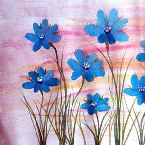 Blue Daisy Pink & Mauve