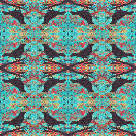Black Bird Silhouette in Turquoise fabric by peaceofpi on Spoonflower - custom fabric