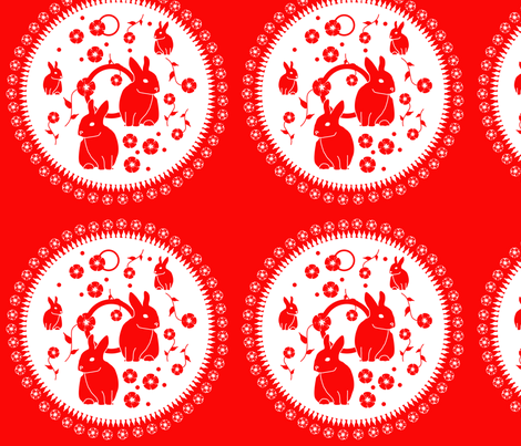 red_rabbits fabric by christine_gibson on Spoonflower - custom fabric