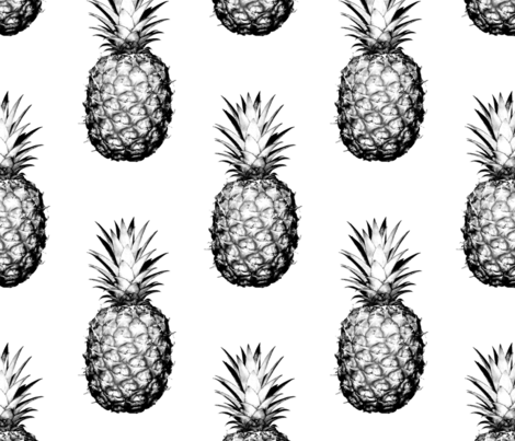 Pineapples black and white large fabric by thecumulusfactory on Spoonflower - custom fabric
