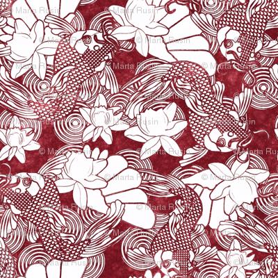 koi and lotus on red