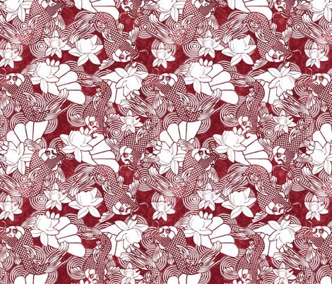 koi and lotus on red fabric by kociara on Spoonflower - custom fabric