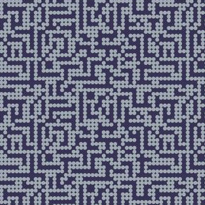 Pixels dots in grey on navy
