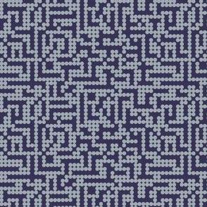 Pixels dots in grey on navy