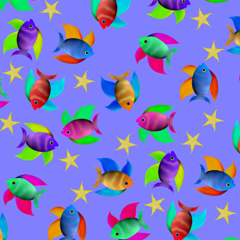 Fish And Starfish fabric by flamincatdesigns on Spoonflower - custom fabric