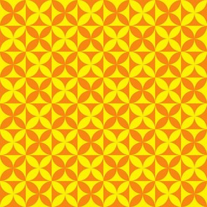 Plumeria Tapa Cloth Yellow Orange