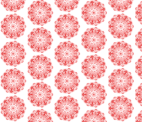 mandala style chinese paper cutting  fabric by lucybaribeau on Spoonflower - custom fabric