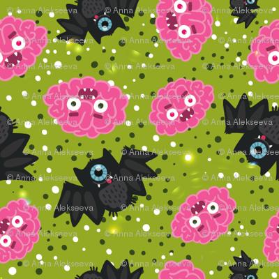 Halloween Brain BAT pattern