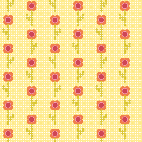 Mod circle flowers - orange on yellow fabric by little_fish on Spoonflower - custom fabric