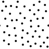 polka dot black on white