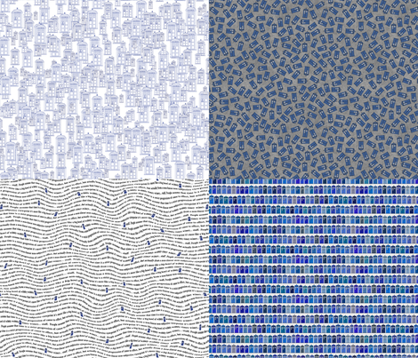 blue and white fat quarter bundle fabric by spacefem on Spoonflower - custom fabric