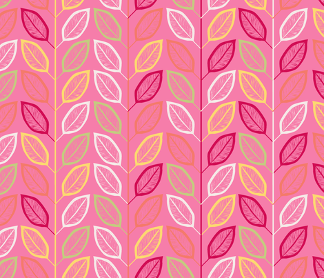 feuillage_d_agrume_rose_L fabric by nadja_petremand on Spoonflower - custom fabric
