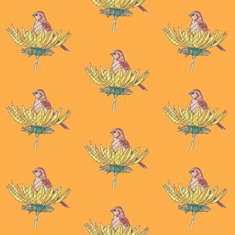Sunflower Bird Orange fabric by peaceofpi on Spoonflower - custom fabric