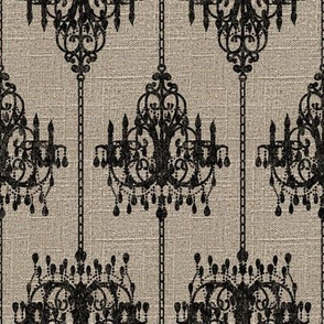Chandelier Damask on Linen