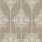 Chandelier Damask in Cream on Linen