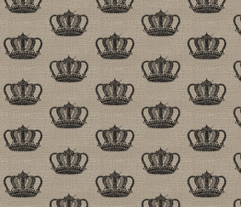 Vintage Crown on Linen fabric by jolenebalyeatdesigns on Spoonflower - custom fabric