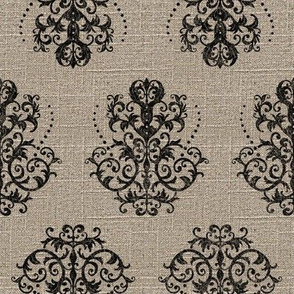 Damask in Black on Linen