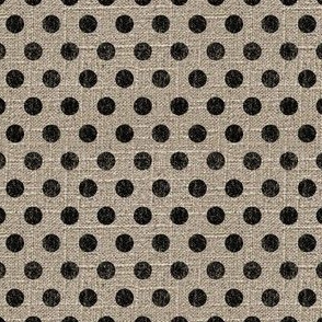 Dots in Black on Linen