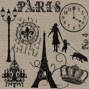 Silhouettes of Paris on Linen