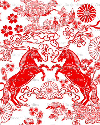 Chinese Horses and Peonies