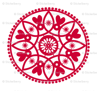 red paper doily