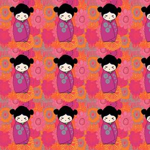 Kokeshi Doll - purple kimono
