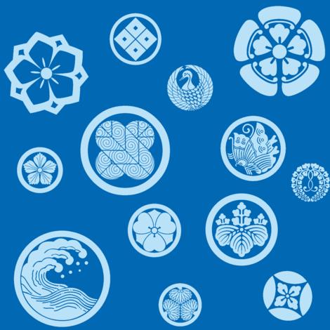 Kamon Blue fabric by gabi-hime on Spoonflower - custom fabric