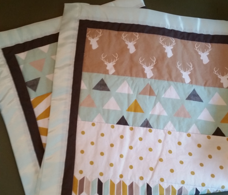Tan Mint Deer Quilt