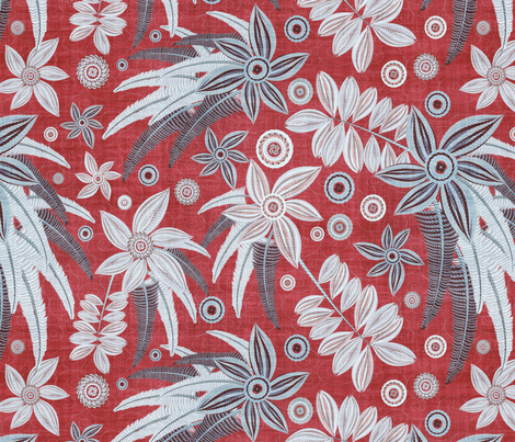 red embroidery fabric by kociara on Spoonflower - custom fabric